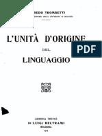 L'unità d'origine del linguaggio - A. Trombetti (1905)