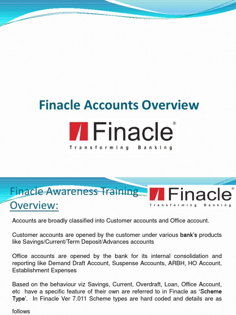 Finacle Accounts | Financial Transaction | Banks