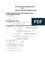 Worksheet of Linear Equation With One Variable