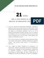 Medios Audiovisuales - Aportes al Anteproyecto de Ley 21 puntos
