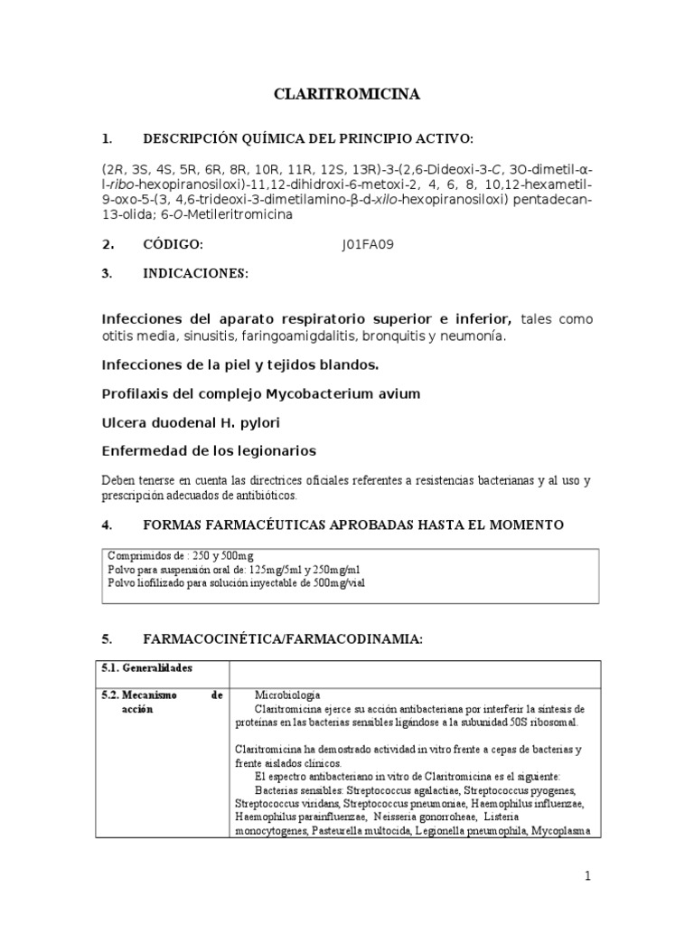 Claritromicina Antibioticos Farmacologia Prueba Gratuita De