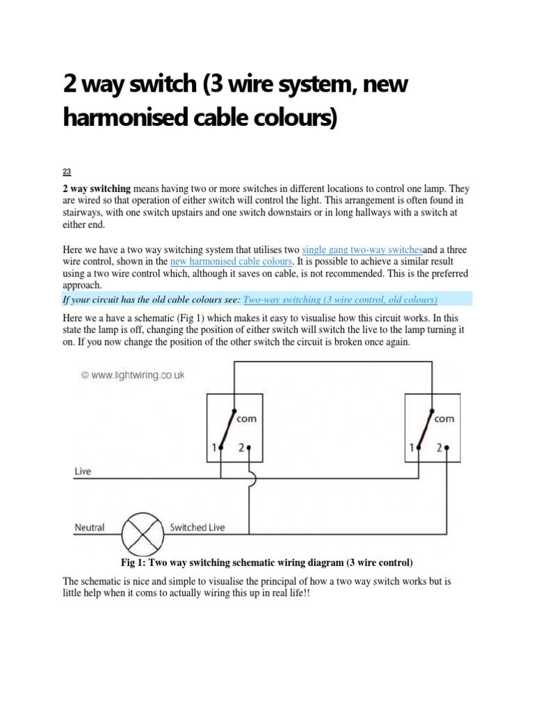 2 Way Switch Operation Wiring Diagrams How A Three Works Rh Scribd Com 3 Diagram Easy