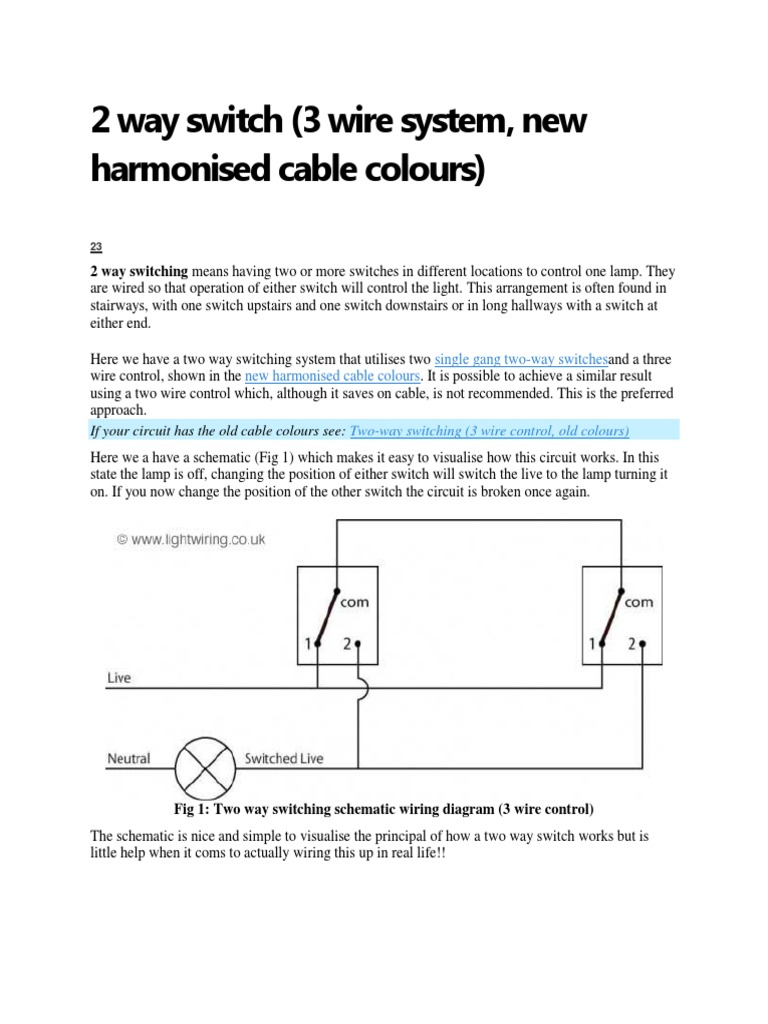 2 Way Switch Two Schematic Wiring Diagram
