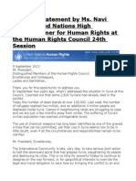 Opening Statement by Ms. Navi Pillay United Nations High Commissioner for Human Rights at the Human Rights Council 24th Session