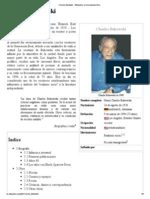 Charles Bukowski Wikipedia La Enciclopedia Libre