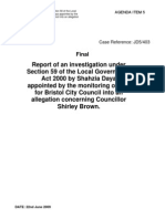 Report of an investigation under Section 59 of the Local Government Act 2000 by Shahzia Daya appointed by the monitoring officer for Bristol City Council into an allegation concerning Councillor Shirley Brown