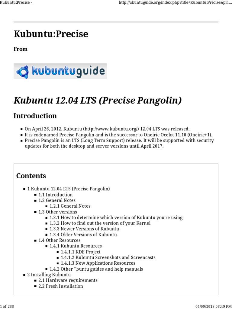KubuntuguidePrecise_Pt1 | Ubuntu (Operating System) | Booting