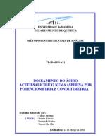 DOSEAMENTO DO ÁCIDO ACETILSALICÍLICO NUMA ASPIRINA POR POTENCIOMETRIA E CONDUTIMETRIA
