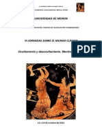 Cuaderno de resúmenes de las VI Jornadas sobre el Mundo Clásico. 2012. Universidad de Morón