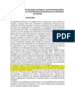 VALORACIÓN DE LOS RECURSOS AGRARIOS Y SUS POTENCIALIDADES