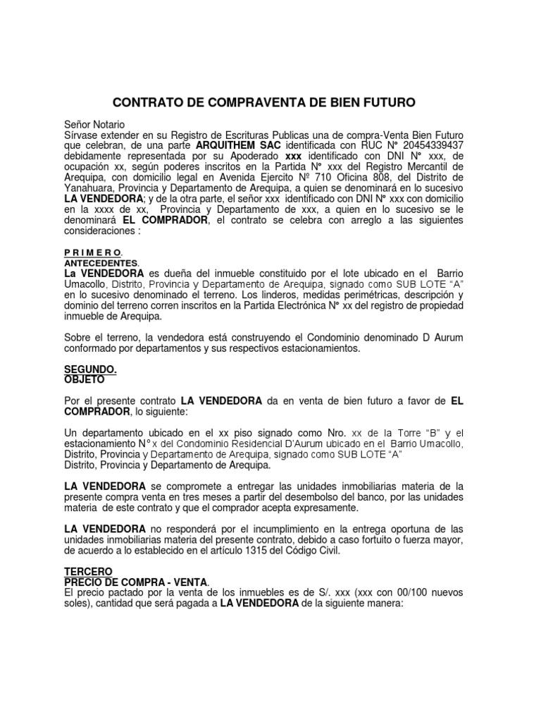 100927 modelo contrato de compraventa de bien futuro aurum for Contrato de hipoteca