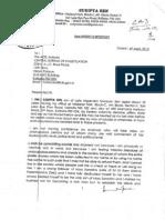 Sudipta Sen Letter to Cbi