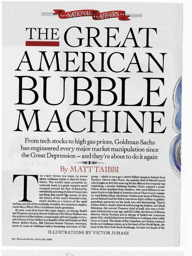 "Image result for Matt Taibbi ""The Great American Bubble Machine"""