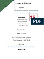 Proyecto Procesos Metalurgicos i Etapas Del Ratamiento de Un Mineral