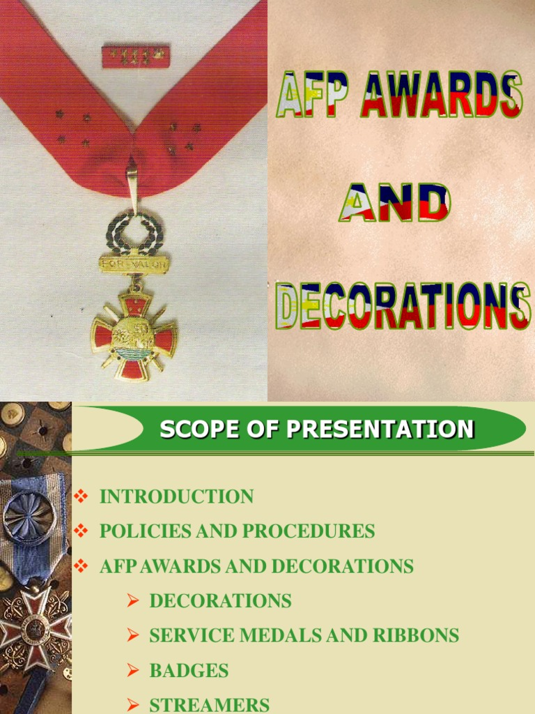 Afp awards and for Awards and decoration