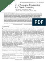 Optimization of Resource Provisioning