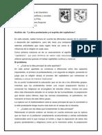 Analisis de La Etica Protestante y El Espiritu Del Capitalismo.