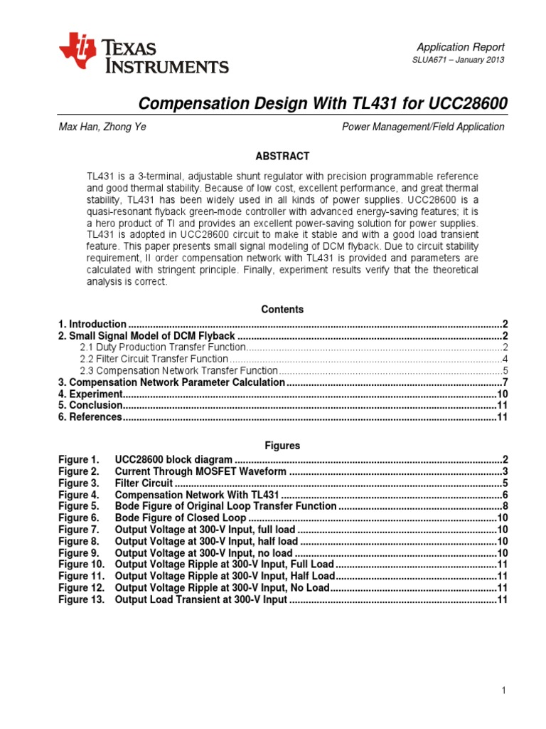 Compensation Design With TL431 for UCC28600: Max Han, Zhong Ye Power
