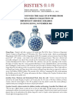 Christie's Announces The Sale Of 24 Works From The R.F.A. Riesco Collection Of Important Chinese Ceramics - Hong Kong, November 2013