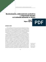 Reestructuracion, Eslabonamientos Productivos y Competencias Laborales en La Industria Automotriz en Mexico