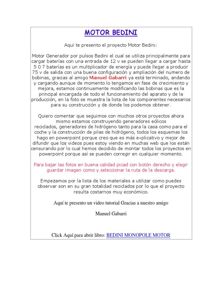 Circuito Motor Bedini : Motor bedini