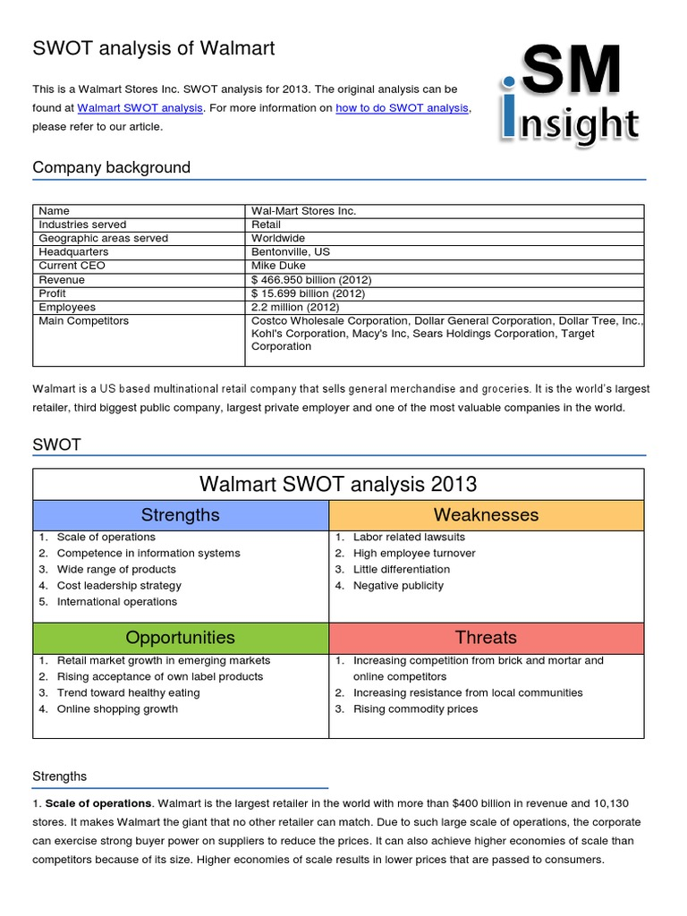 Walmart Swot Analysis | Walmart | Tienda de comestibles