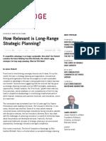 How Relevant is Long-Range Strategic Planning