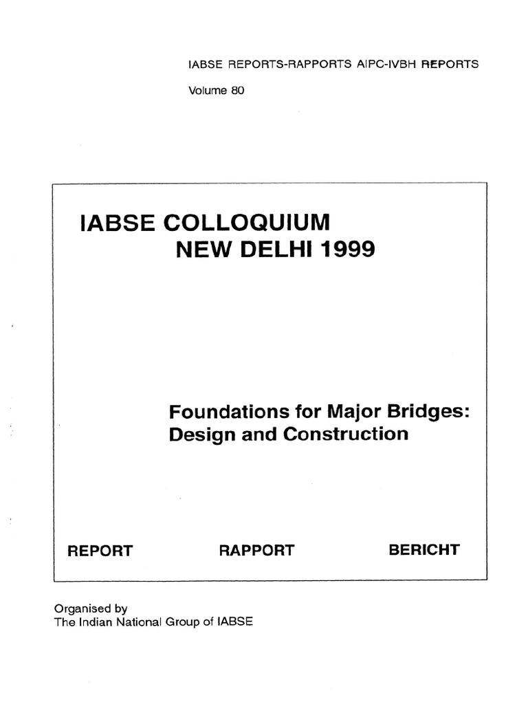Iabse 1999 Foundation For Major Bridges Reflection Seismology Car Electric Circuit Voltage Probe Tester 45mlength Dc 624v Deep