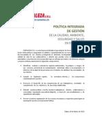 POLÍTICA INTEGRADA FORTALEZA