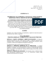 Codigo Rentas Acuerdo 19 2005