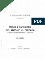 Triduo e Panegerico di S. Antonio M. Zaccaria - Fondatore dei Barnabiti e delle Angeliche  - Giovanni Semeria, CRSP
