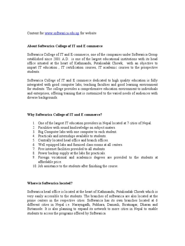 Website Conent Softwarica College Cisco Certifications College
