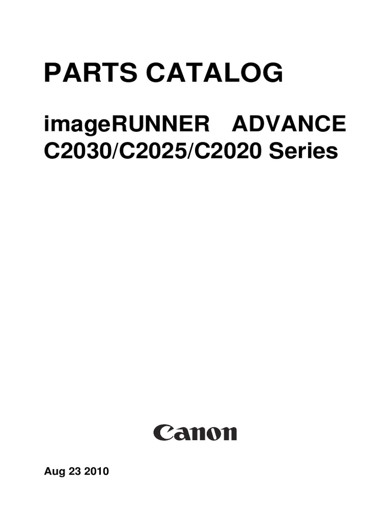 PARTS CATALOG Canon imageRUNNER ADVANCE C2030/C2025/C2020