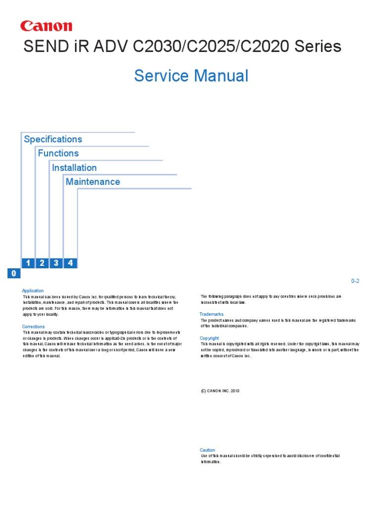 Canon SEND iR ADV C2030/C2025/C2020 Series Service Manual   Portable ...