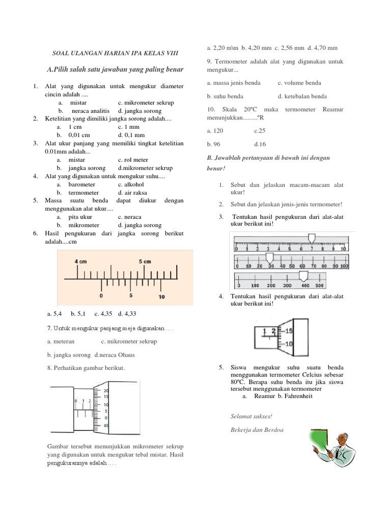 Soal Pilihan Ganda Fisika Smp Kelas 7 Tentang Pengukuran Dan Alat Ukur