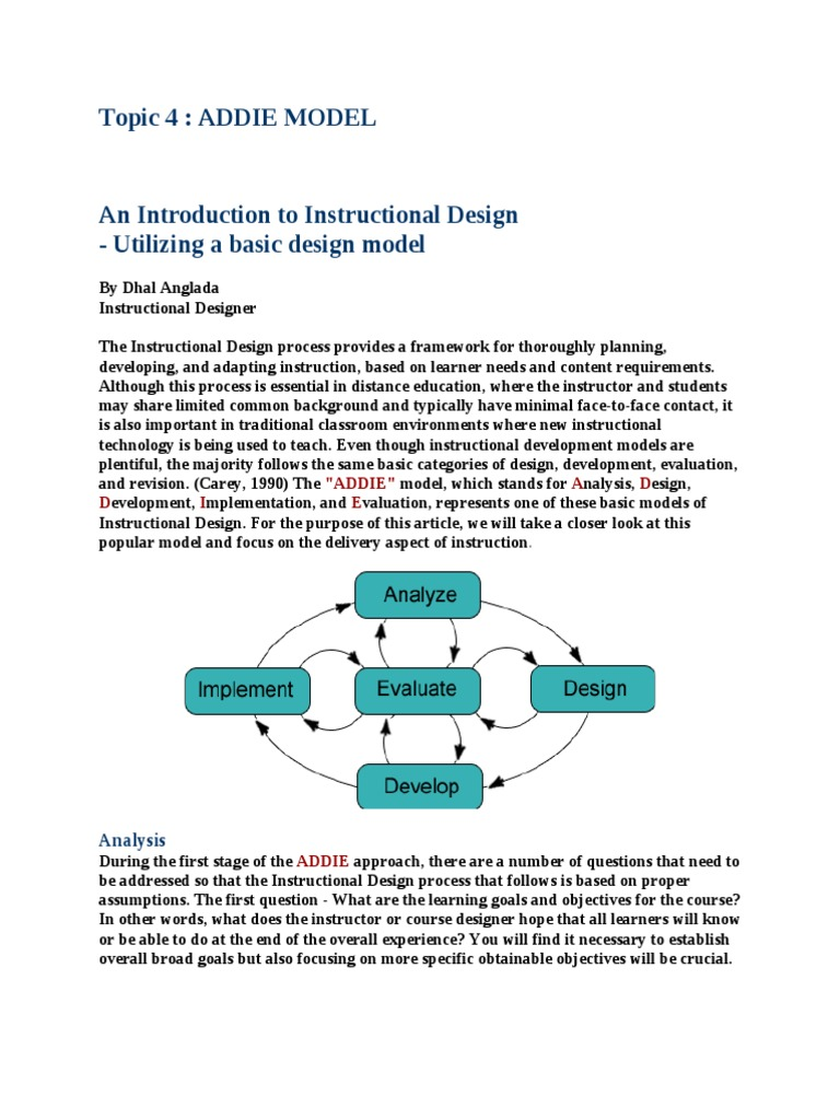 Bab 03 Addie Model Instructional Design Educational Assessment
