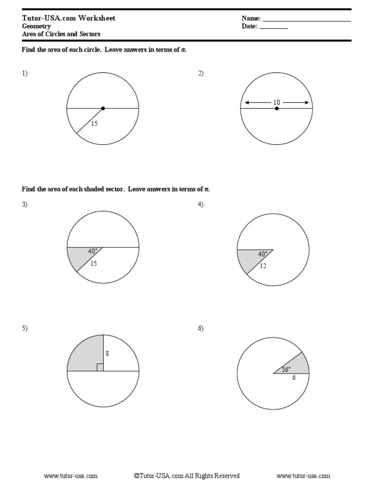 Free Geometry Worksheet Area of Circles and Sectors – Area of Sector Worksheet