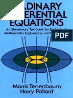Morris Tenenbaum, Harry Pollard Ordinary Differential Equations Dover Books on Mathematics 1985