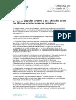 El Partido Popular de Melilla informa a sus afiliados sobre los últimos acontecimientos judiciales.