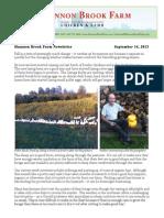 Shannon Brook Farm Newsletter 9-14-2013