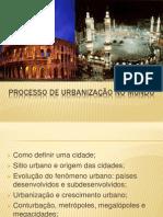 Processo de urbanização no mundo
