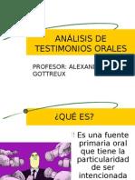 ANÁLISIS DE TESTIMONIOS ORALES