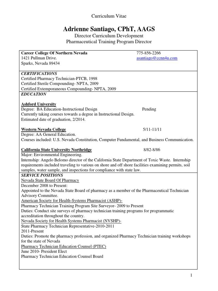 curriculum vitae | Pharmacy | Pharmacist