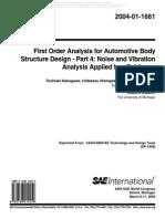 Toshiaki Nakagawa,First Order Analysis for Automotive Body Structure Design _Part 4 Noise and Vibration Analysis Applied to a Subframe