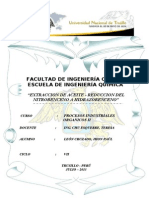 Extraccion de Aceite - Reduccion Del Nitrobenceno a Hidrazobenceno