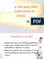 Criteria for Selection and Adaptation of Songs