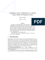 Ambiguity and Coordination in a Global Game Model of Financial Crises