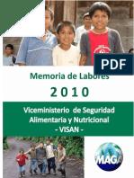 Memoria de Labores VISAN 2010