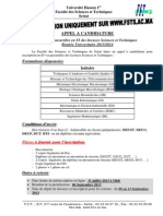 Appel Candidature Licence 2013-14