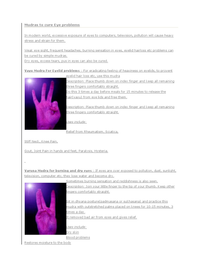 Mudras to cure Eye problems docx | Finger | Hand